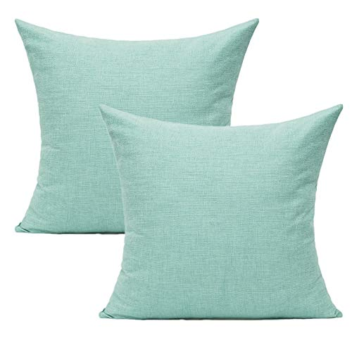 Aqua Mint Cushion Covers for Outdoor Patio Furniture Turquoise Burlap Accent Pillow Solid Teal Pillowcases Daybed Couch Sofa Bed Home Decoration 18'x18' Set of 2