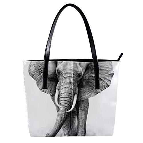 LORVIES Afrika Elefanten-Tasche, Schultertasche, PU Leder und Handtasche für Damen