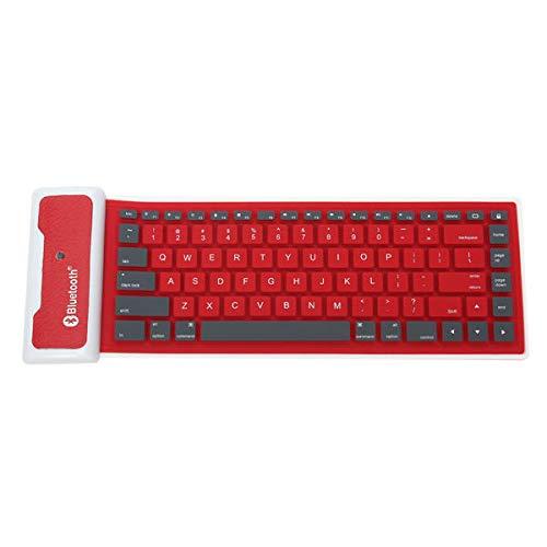 Y-hm Sensación cómoda Teclado de la Minifalda Bluetooth inalámbrica de Silicona Impermeable para teléfono Celular Tableta Diseño portátil (Color : Red)