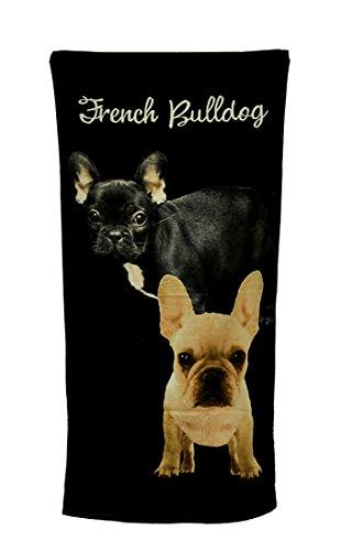 Zeckos 2 French Bulldogs Black Beach Towel 30 X 60 Inch