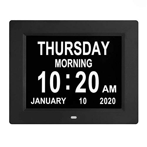 [Newest] 8 Inch Digital Calendar Day Clock Photo Frame- Auto Dimmable Display 12 Alarm Options,Extra Large Impaired Vision Digital Clock with Non-Abbreviated Day & Month Alarm Clock (Black)