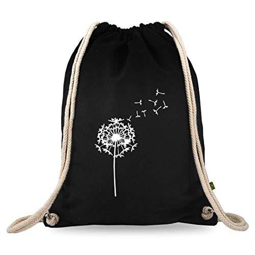 Turnbeutelliebe® Turnbeutel mit Motiv - Pusteblume - Baumwolle schwarz - Sportbeutel - Rucksack - Stoffbeutel - Gym Bag - ca. 12 Liter - 37 x 46 cm