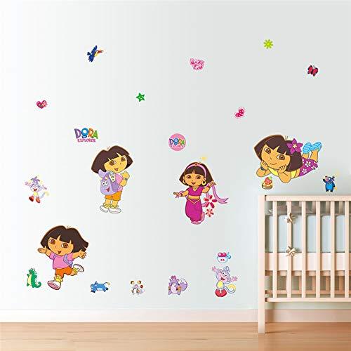 Bande Dessinée Dora Bottes Singe Stickers Muraux Pour Enfants Chambres Jardin Fleur Stickers Murale Affiche Nursery Room Decor Enfants Cadeau