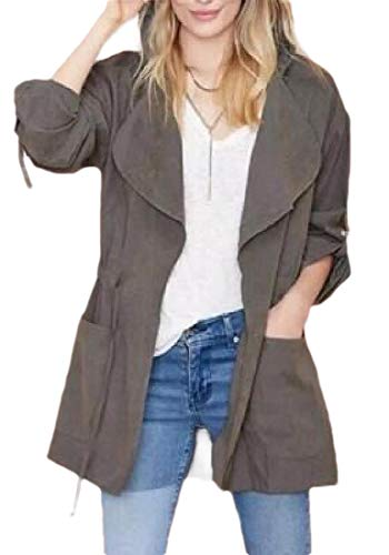 Jotebriyo Womens Windbreaker Hooded Mid Length Solid Color Casual with Pockets Trench Coat Jacket Outerwear Grey XS
