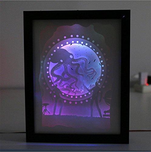 Q&M Lampe de découpage de papier de lumière créative 3D papier découpant la lumière se pliante de nuit de LED