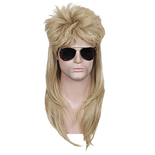 ColorGround Long Straight Blonde 80's Mullet Rocker Style Wig for Men