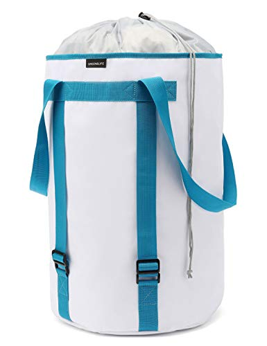 BASICPOWER Large Laundry Basket Foldable Laundry Bag Backpack WaterProof Storage Hamper with Adjustable Strap and Drawstring Closure Lid
