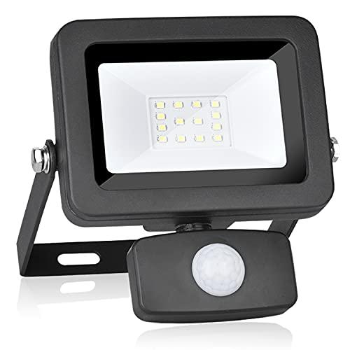 WOWLEO Foco LED con sensor de movimiento de 360°, dirección ajustable, 10 W, luz blanca de 6500 K, protección IP54, para exteriores, jardín, patio, garaje, escaleras