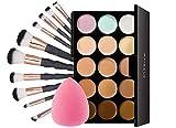Make-up Pinsel Set 10 Stück & 15 Farbe Concealer Palette mit Kosmetikpinsel und Puff Schwamm für Eyeshadow Eyeliner Gesichtspuder Lidschatten Kosmetik/Schminke Von Anself