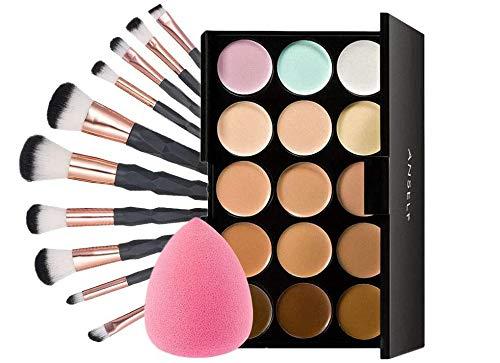 Make-up Pinsel Set 10 Stück & 15 Farbe Concealer Palette mit Kosmetikpinsel und Puff Schwamm für...