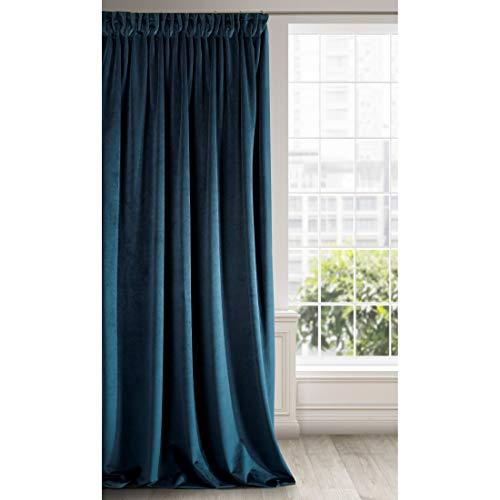 Eurofirany Ria Cortina Velvet Azul Marino, Terciopelo, 1 Unidad Cinta Fruncida Suave y Elegante, Glamour para Dormitorio, salón, 140 x 270 cm