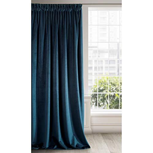 Eurofirany Velvet-Cortina de Terciopelo, Color Azul Marino Suave Cinta Fruncida Elegante, Glamour Dormitorio, salón, Tela, 140 x 270 cm