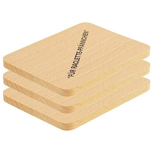 3X HOFMEISTER® Untersetzer für Raclette-Pfännchen aus Holz, 10 cm, schont Raclette-Pfännchen & Tische vor Öl & Kratzern, hitzebeständiges Raclette Brett, EU Produktion, heimische Buche