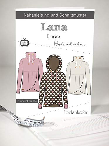 Schnittmuster Fadenkäfer Lana Hoodie mal anders für Kinder Gr. 74-164 Papierschnittmuster