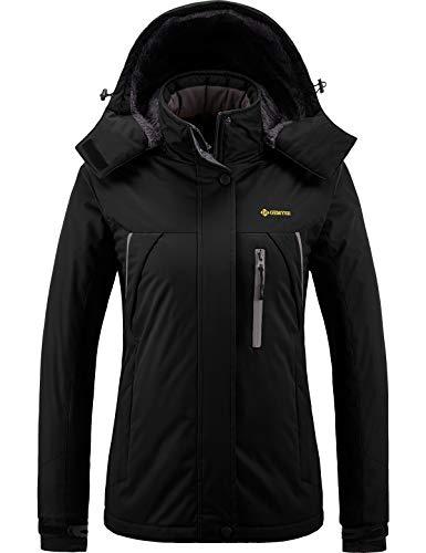 GEMYSE wasserdichte Berg-Skijacke für Frauen Winddichte Fleece Outdoor-Winterjacke mit Kapuze (Schwarz,L)