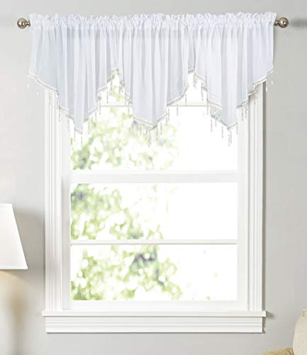 Molaxhome Swag Curtain 63 inch Length, Rod Pocket Scalloped Curtain Valance Sheer Lace Panels with Hanging Crystal Beads for Farmhouse Kitchen Bedroom Window Treatments Drape Decor (63inch, White)