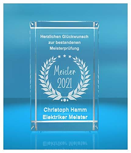 ELUNO 3D Glasquader | Meister 2021 | Glückwunsch mit Wunschtext | Geschenk zur Meisterprüfung