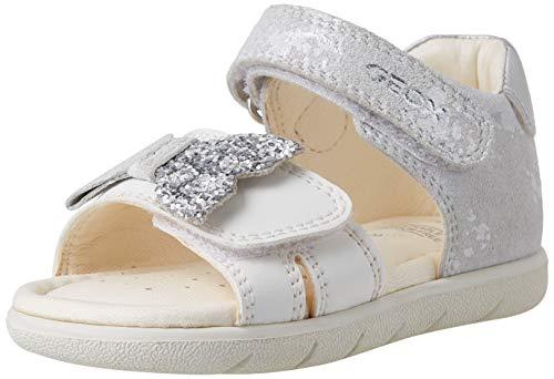 Geox B ALUL Girl D Sport Sandal, WHITE/SILVER, 27 EU