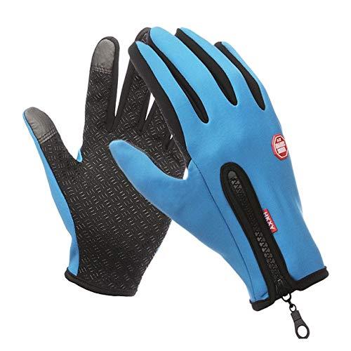 IMmps Winddichte Handschuhe rutschfest Winddicht warme Touchscreen-Handschuhe atmungsaktiv Winter Männer und Frauen schwarz Reißverschluss Handschuhe-T3637G016 1 Warm Blue-L