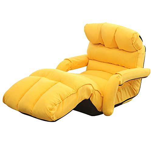 Xin Hai Yuan Sillón reclinable ajustable para sala de estar, estilo japonés, sillón plegable, color amarillo