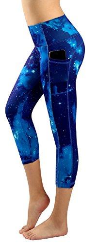 New Minc Women Galaxy Leggings Printed -Tummy Control- High Waist Yoga Capri Pants with Pockets (YH02)-91L