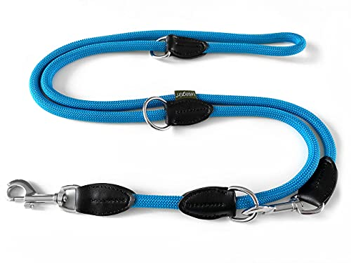 Leisegrün Hundeleine Paracord, 3fach verstellbare Umhängeleine aus Nylon, rund und bissfest mit 2 Karabiner, 2 m, Petrol Blau