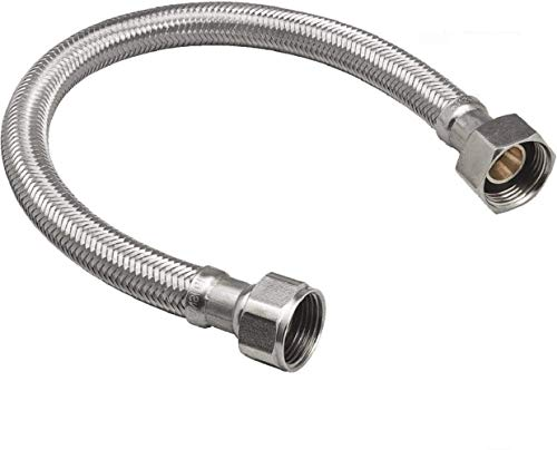 EZ-Fluid 15-Inch Braided Flexible Stainless Steel Water Heater Connector Hose for Female Iron Water Pipes Fitting, 3/4-Inch FIP x 3/4-Inch FIP