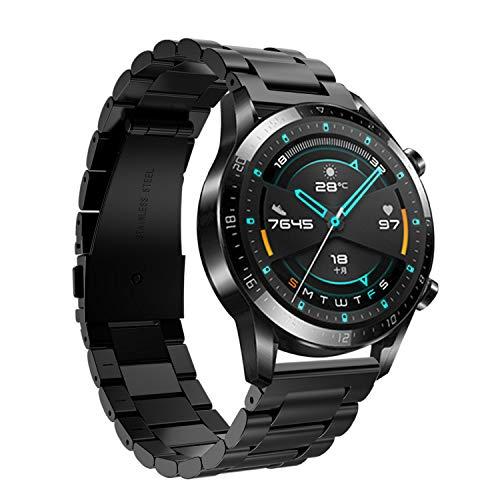 Keweni Correa para Huawei Watch GT 2 46MM, 22mm Pulsera de Repuesto de Acero Inoxidable de Metal para Huawei Watch GT / GT 2e / GT 2 Smart Watch (Negro)