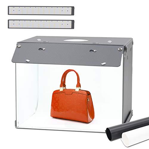 Caja de luz, 33x26x26cm Caja de Estudio Fotográfico portátil, Orthland Nueva versión Plegable Photo Studio Light Box con 2 Fondos de Colores + 2 Tiras de LED 72 Luces LED