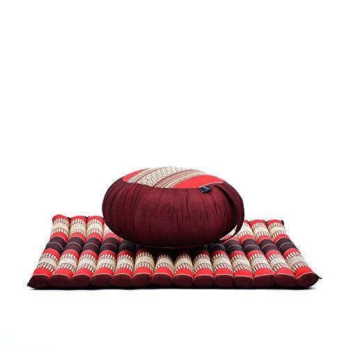 Leewadee Meditationskissen Set Sitzkissen Rund Zafu Yoga Kissen Zabuton Yogakissen Meditationskissen Meditation Zubehör Yoga Sitzkissen Yoga Meditationskissen, Kapok, rot
