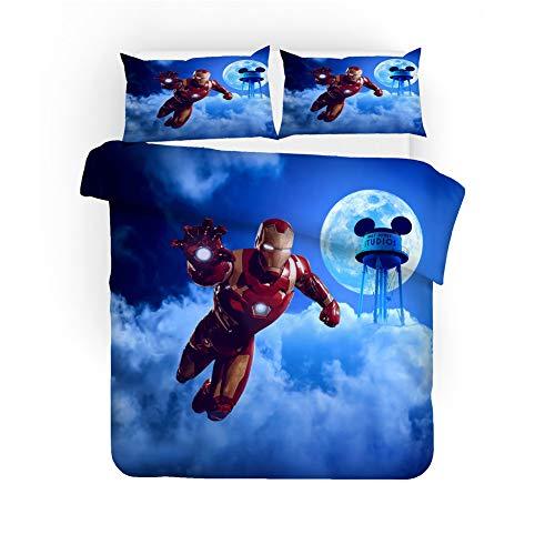 GD-SJK Iron Man Kinder Bettwäsche,The Avengers Bettbezug Bettwäsche Set - Bettbezug Und Kissenbezug,Mikrofaser,3D Digital Print Dreiteiliger Bettwäsche (A09,135x200cm-2pcs)