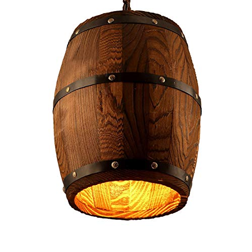Newrays Antique Wood Wine Barrel Pendant Lamp Hanging Rustic Unique Kitchen Bar Ceiling Lamp Light...