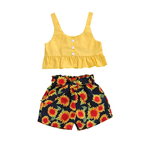 2Pcs Newborn Baby Girl Summer Clothes Set Sleeveless Ruffle Strap Crop Tops+Floral Shorts Pants Outfit (Yellow, 2-3 Years)