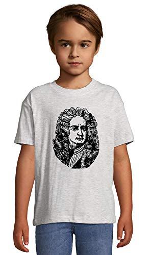 Isaac Newton Famous Scientist Artwork Ash Crew Neck Kids T-Shirt 106-115 (6 Year)