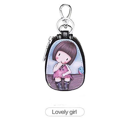 Gouen Painted Design Key Bag voor vrouwen Kleine lederen portemonnees Huishoudsters Autosleutelhouder Case Leren sleutelhanger Tasje, meisje