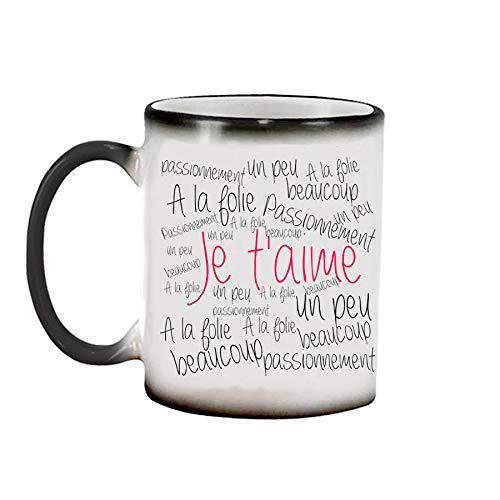Mug Magique Je t'aime Un Peu, Beaucoup ! Mug Amour, idée Cadeau Original, mug Personnalisable, Saint Valentin