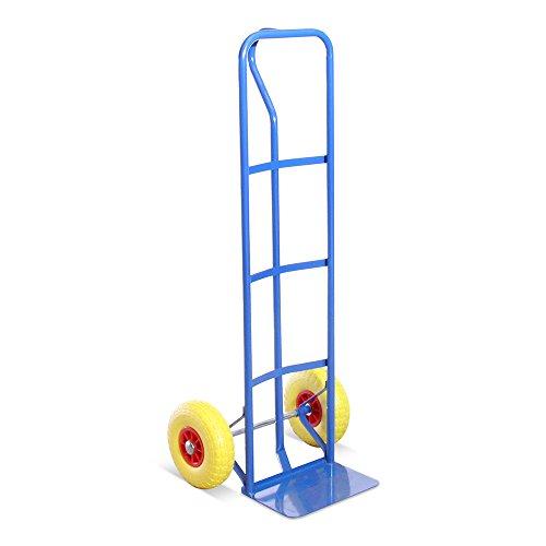 G-Rack Industrielle P-Griff Sackkarre aus Stahl mit hoher Rückseite und stichfesten Reifen. 325kg Gesamtlastkapazität - 5 Jahre Garantie,Blau