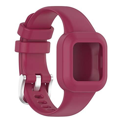 Volking Correa de Repuesto de Silicona Compatible con la Pulsera para niños GarminFit JR3, Pulsera de Repuesto, Correas de Reloj con Hebilla de Acero Inoxidable para Reloj Inteligente