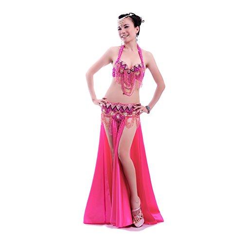 ROYAL SMEELA Frauen Bauch Tanz-Kleidung Strass Sexy Kleid BH/Gürtel/, hot pink