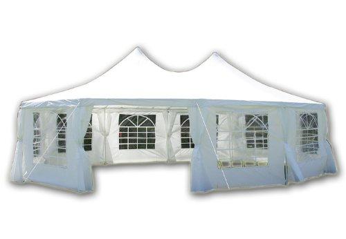 Nexos Deluxe Zelt hochwertiges Festzelt Partyzelt Pavillon 8,9x6,5 m weiß mit Seitenteilen für Garten Feier Markt Plane wasserdicht PE Dach 270 g/m²