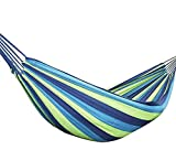 Futurekart Canvas Striped Foldable Hammock for Single Person/Hanging Bed for Camping & Outdoor Activities & Beach Travel 110.2 * 31.4 inches - Blue