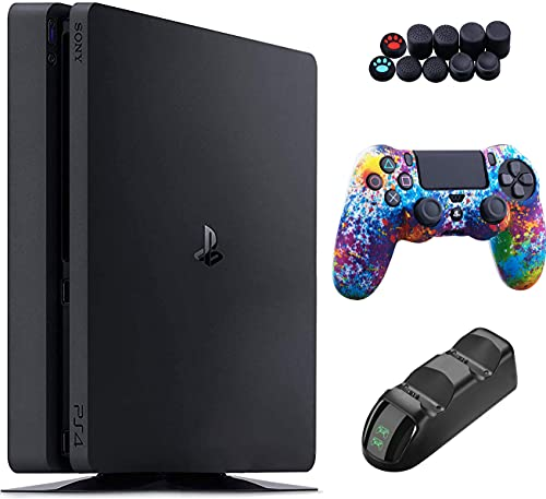 Sony Playstation 4 1TB Console - Black PS4 Slim Edition with 1TB Storage, DS4 Wireless Controller and GalliumPi 3-in-1 Accessories kit