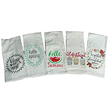 Set of 5 Spring Summer Flour Sack Kitchen Towels Gift Set - Hello Spring, Hello Summer, Life Is Sweet, Floral Kitchen Towels - Comes in an organza gift bag so its ready for gift giving!