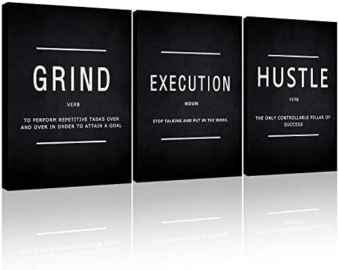 Motivational Canvas Wall Art Grind Hustle Execution Office Wall Decor Framed Inspirational Prints product image