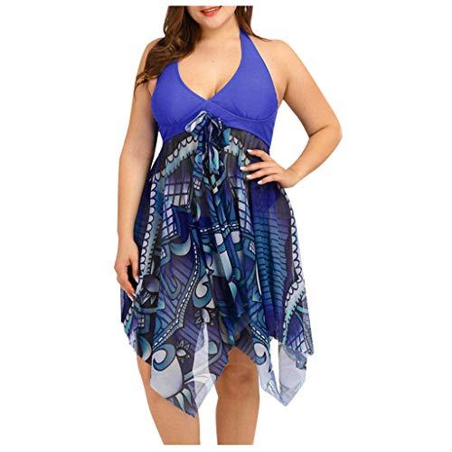 KPILP Womens Swimwear Plus Size Two Piece Bikini High Waisted Swimsuit Swimdress Summer Beachwear Swim Trunks and Bathing Suit Set Ladies Plus Size Swimming CostumeBlueXXL