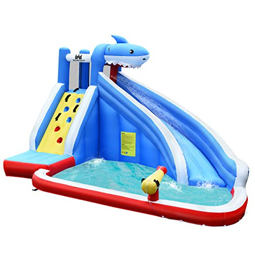 COSTWAY Inflatable Bouncy Castle, Jumper House Water Pool Slide Activity Center with Water Slide, Climbing Wall, Water Gun and Pool Area for Kids