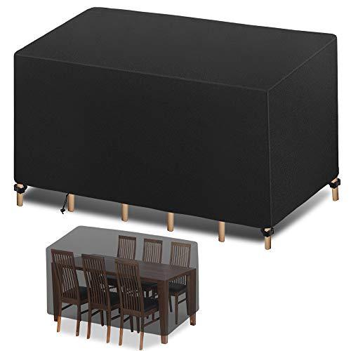 Funda para Muebles de Jardín, Funda Protectoras Muebles Jardin, Cubierta de Muebles de Mesas Rectangular, Cubierta de Mesa de jardín, Cubierta de Exterior Impermeable, Anti-UV (180 x 120 x 74cm)