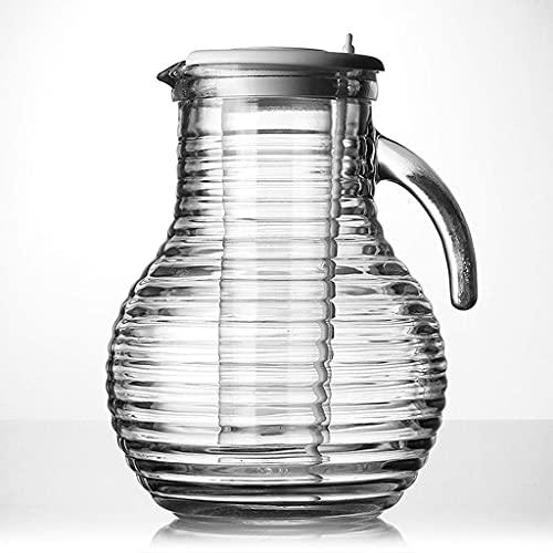 EURYTKS Decantador de Botella de Vino, Jarra de Agua de Vidrio de Tetera de Primera Calidad, Jugo de Vino, Jarra de Bebidas frías, Jarra de Acero Inoxidable de 1,5 l