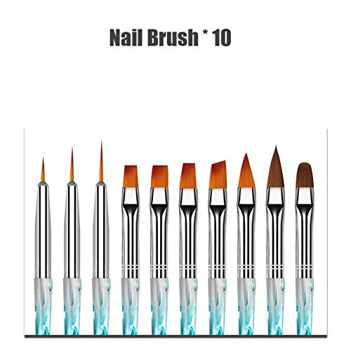 Ritapreaty Brosses de Peinture pour Ongles Nail Light Therapy Pen Sculpté Crystal Pen Nail Art Supplies Nail Art Tools, Nail Art Brushes, 10PCS / Set