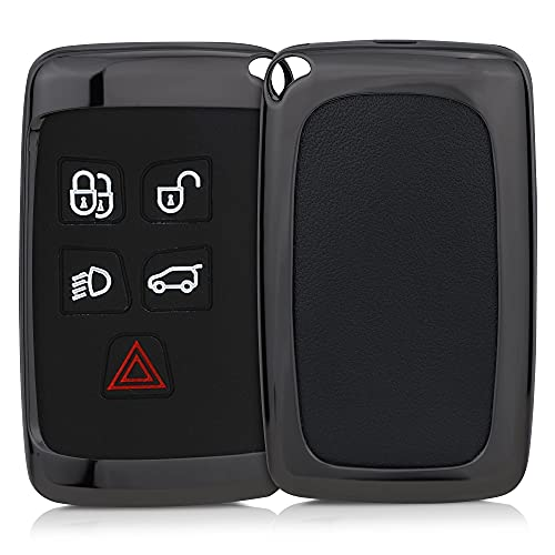 kwmobile Funda para Llave de Coche Compatible con Land Rover Jaguar - Carcasa Protectora Dura de Metal para Mando en Gris Oscuro
